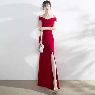 Off Shoulder Long Dress ( rent out or sell out ) /dinner dress / bridesmaid/ elegant dress / wedding / event/