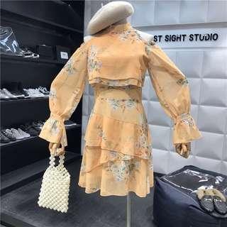 Cold Shoulder Chiffon Flare Raffles Lantern Bell Sleeve Floral Dress