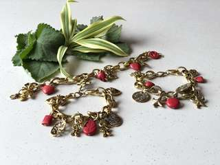 Coral Bracelet with charms