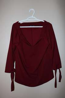 Boohoo Wine Red Off The Shoulder Blouse
