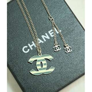 99% New CHANEL A63705 綠色 間條 CC Logo 長頸鏈 頸鏈 Green CC Logo Necklace