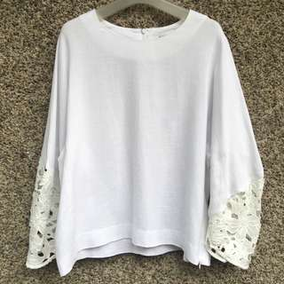 White Lace Sleeves Top