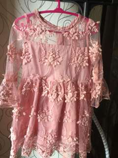 Pink lace dress for baby girl