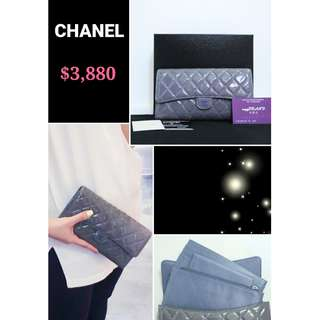 90% New CHANEL A68705 薰衣草色 漆皮 CC Logo 長銀包 旅行錢包 手拿包 Lavender Purple Patent CC Logo Travel Long Multi Wallet