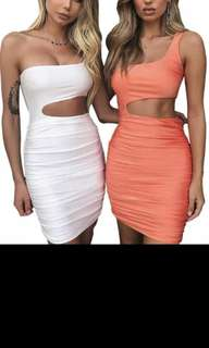 One Shoulder Hollow Out Asymmetrical Dress