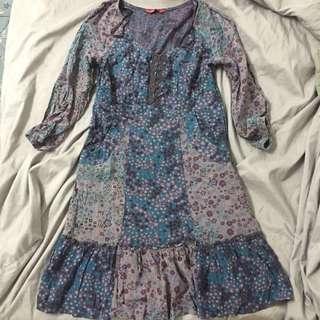 Floral peasant ruffle dress