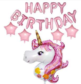UNICORN Happy Birthday Party Balloons Decor