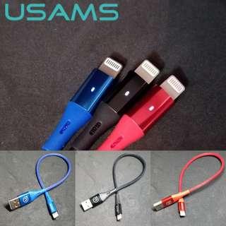USAMS 2.4A 極速充電線 長或短 lightning led Usb 鋁合金 iPhone X 5 6 7 8