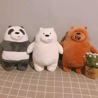 🚚 現貨 MINISO 正版授權 WE BARE BEARS 熊熊 遇見你 娃娃 28.5cm 🐼 🐻