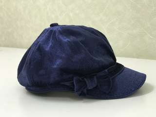 🆓Postage* Girls Pumpkin Patch Blue Velvet Hat