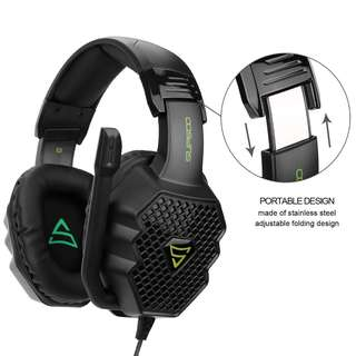 933. SUPSOO G811 Gaming Headset Over-Ear Stereo Bass Gaming Headphone with Noise Isolation Microphone for Xbox one PS4 PC Laptop Mac iPad iPod - Black