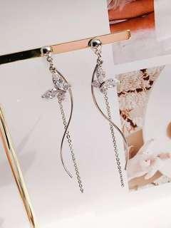 韓系蝴蝶波浪流蘇耳環鑲鑽小清新耳釘