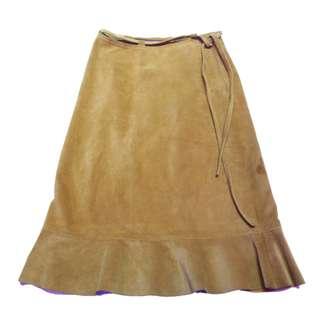 「復古 土色 類似 麂皮 絨布 古著 裙子ˊ @一中 舊到過去 腰: 24inch 長: 58cm」