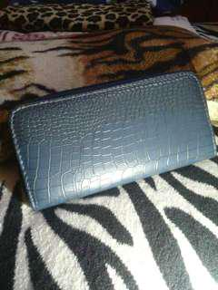 Grey snake skin inspired long wallet
