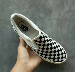 Sepatu vans OG classic slip on LX checkerboard black white made in china premium 1:1 original