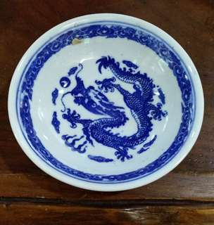 Vintage lifely dragon on saucer