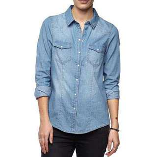 Denim button up shirt!
