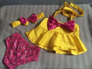 Swimming Suit swimsuit bikini set With headband for baby girl or kids mermaid skin yellow pink