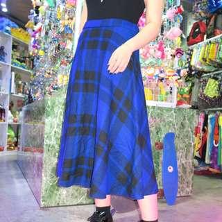 「藍黑色 格子格紋 不規則 古著 復古 裙子@一中 舊到過去 腰: 32inch 長: 75cm」