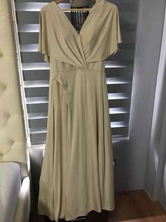 Beige spandex long gown with front buttons perfect for breastfeeding moms