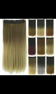 (NO INSTOCKS!) Preorder Gradient two tone ombre straight clip on hair extension *Waiting time 15 days after payment is made *pm to order