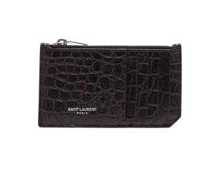 Saint Laurent Crocodile-effect leather card holder