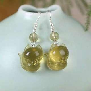 黄水晶狐仙耳環