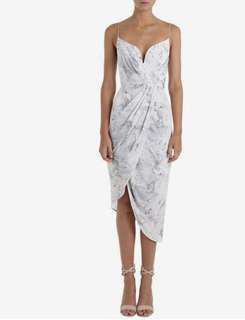 Zimmerman Marble Silk Plunge Dress