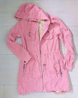 Pink Corduroy Parka Jacket