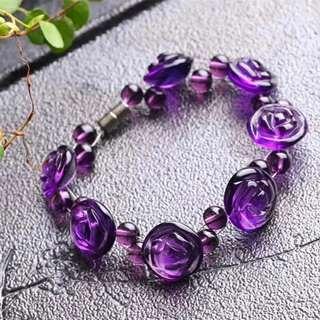 紫水晶七朵玫瑰手鏈
