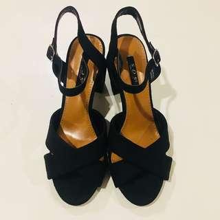 Suede black block heels