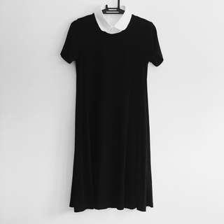 Stradivarius black dress with detachable collar
