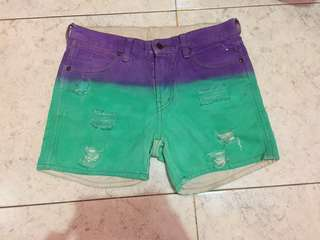 GREEN PURPLE DYED SHORTS