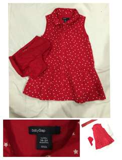 baby gap red dress woth free panty