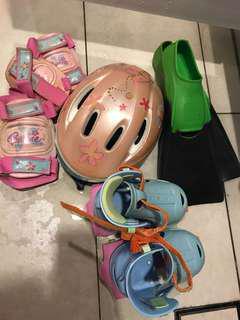 Bicycle helmet, knee pads, fins, roller skates