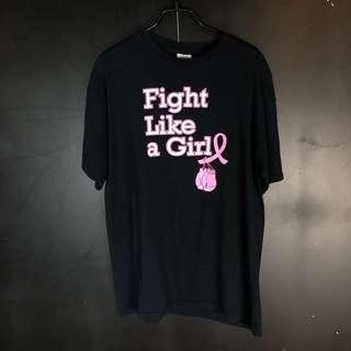 🚚 古著黑色女力Fight like a girl棉質短T