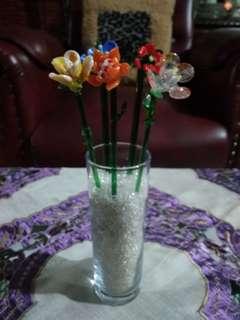 Bunga kaca 5 pc + vas nya