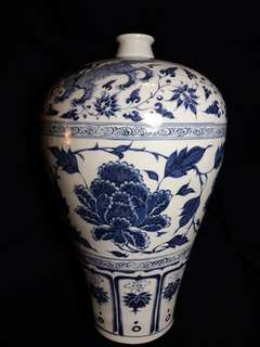 Late Yuen early Ming era Blue n White plum shape vase with peony flowers n unicorn decoration 44.5cm H x 26cm width. 元末明初青花梅瓶,牡丹缠技纹。