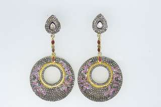Earrings Antique style with diamond and ruby in silver