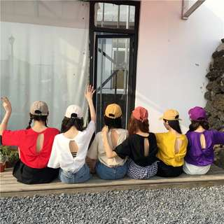 2018新款韓版寬鬆百搭小心機網紅 鏤空ulzzang短袖T恤女夏露背上衣