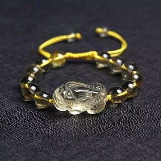 黄水晶貔貅手串