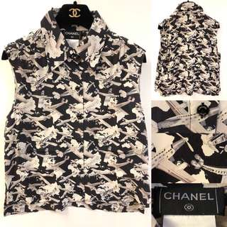Coco Chanel airplanes silk shirt vest size 40