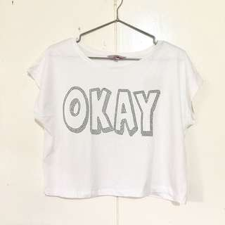 """White Cotton Cropped Top with Beaded """"Okay"""" Design"""