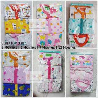 🚚 📮FREE mail • 3pcs Libby Footed Sleepsuits Integrated mittens Sleepwear Jumper Pyjamas Romper Newborn Baby Boy Girl Neutral