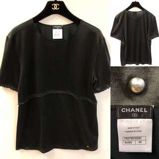 Chanel black with beads tee top size 40
