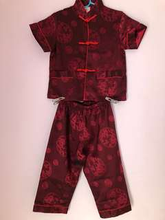 Chinese samfu / cheongsam for boys (maroon/ dark red)