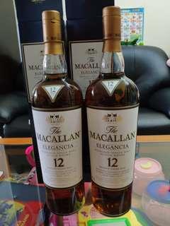 罕有,2008年出品,1公升麥卡倫ELEGANCIA 12年威士忌1000ml with box,一支售價