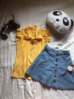 Yellow Lapel Sleeve Chiffon Blouse with Bow-