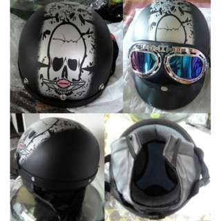 Helm Motorcycle Goggles Black Grey Half Face