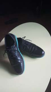 GBX black leather with blue sole